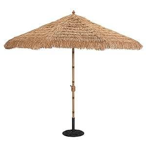 Patio umbrellas 9 bamboo finish deluxe auto tilt patio umbrella