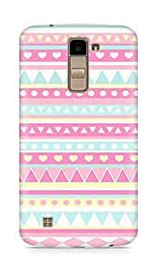 Amez designer printed 3d premium high quality back case cover for LG K10 (strawberry pink hearts shapes pattern )