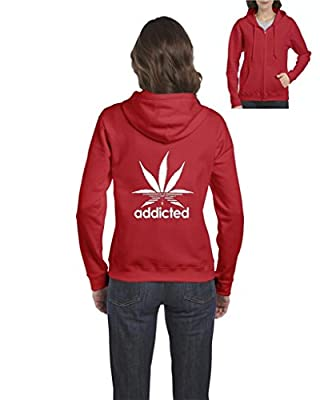 Xekia Addicted White Weed Leaf Marijuana Cannabis Full-Zip Women Hoodie