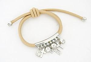 BC329 - Bracelet Double Elastique Beige avec Charms Croix et Strass Argenté - Mode Fantaisie
