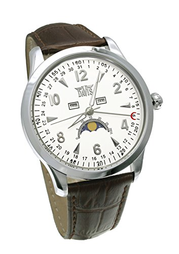 Davis-1501- Mens triple date and Moonphase watch-White dial-Brown leather strap