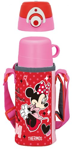Thermos Vacuum Insulation Bottle 2Way Disney Minnie 0.63L/0.6L Rose Red Ffg-600Wfds Rr (Japan Import) front-508220