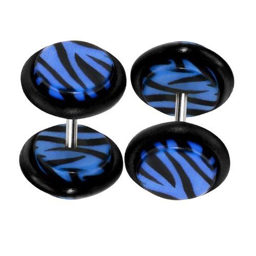 Fake Gauges Zebra Blue Acrylic Fake Plugs 16 Gauge Studs Cheater - 0G Gauges Look - 2 Pieces
