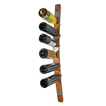 True Fabrications Oak 6 Bottle Wine Barrel Stave Wall Mounted Wine Rack by True Fabrications