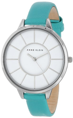 Anne Klein Women'S Ak/1501Wtmt Silver-Tone Watch With Mint Leather Strap