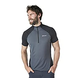 Berghaus Mens Vapour Short Sleeve Zip Base Top Carbon/Black 2XL