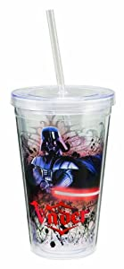 Vandor 99151 Star Wars Darth Vader 18 oz Acrylic Travel Cup with Lid and Straw, Red, Black, and White