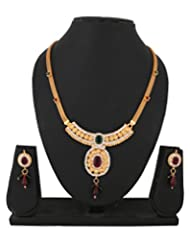 Bel-en-teno Maroon & Green Alloy Necklace Set For Women
