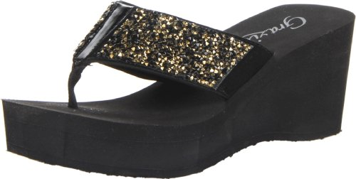 Grazie Women'S Shinedown Wedge Sandal,Gold,7.5 B Us front-984948