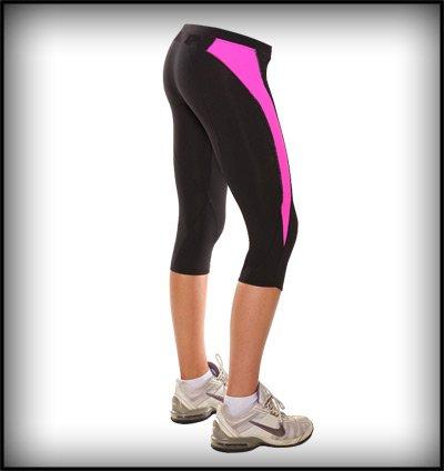 Donna 3/4Leggings da corsa rosa/nero o blu/nero. Grande per bicicletta, Cross fit, e Yoga., donna, pink and black, M