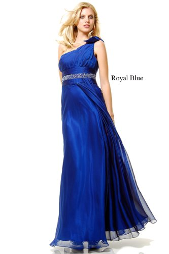 Prom One Shoulder Dress New Elegant Long Gown Royal Blue