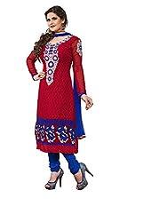 Blissta Maroon embroidered geogette Unstitched karachi suit