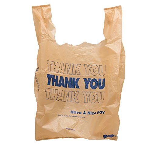 """Thank You"" Carryout Plastic Bags - Tan With Blue Print - 500 Ct."