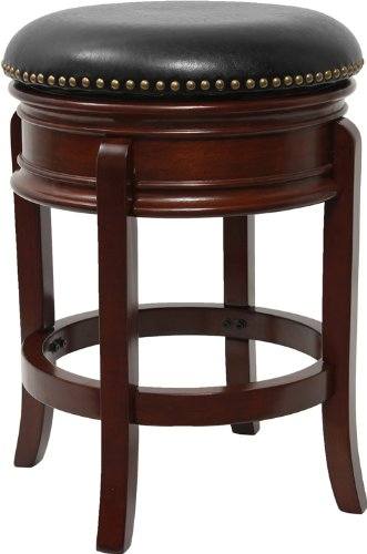 Flash Furniture TA-68824-CHY-CTR-GG Backless Cherry Wood Counter Height Stool with Black Leather Swivel Seat, 24-Inch