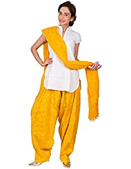 Womens Cottage Yellow Leaf Printed Cotton Semi Patiala & Cotton Dupatta With Beads