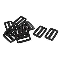 uxcell Hard Plastic Rectangle Buckle Luggage Replacement 3.2CM 10 Pcs Black
