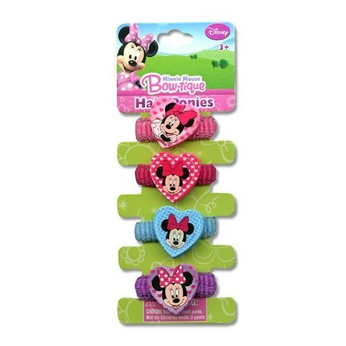 "Minnie ""Bowtique"" 4 on Terries with Plastic Motifs Hair Ponies Item (includes 1 pack of hair terries)"