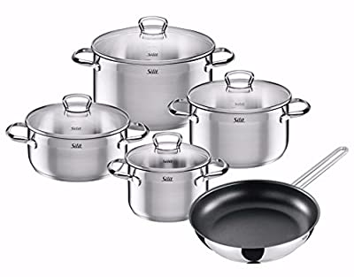 Non-stick Stainless Cookware Set 9-piece Silit Coating With Glass Lid TC-00601A