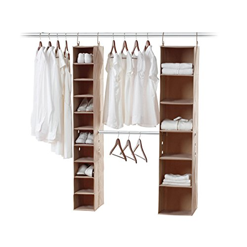 neatfreak 5666-ST closetMAX 3 Piece Kit with 6 & 10 Shelf Storage Organizers with Double Hanging Expandalbe MAXbar (Neatfreak Closet Organizer compare prices)
