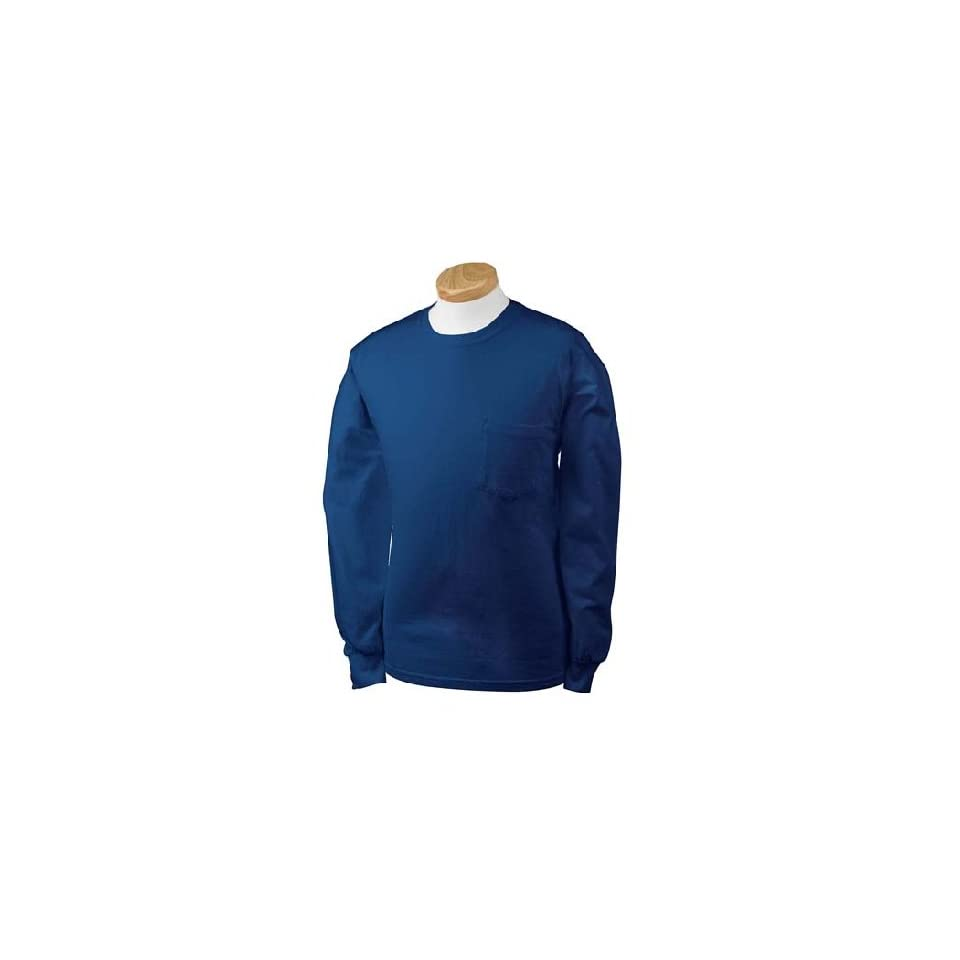 Gildan G241 Ultra Cotton Long Sleeve Pocket T Shirt   Navy   2XL at  Men's Clothing store Fashion T Shirts