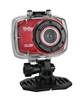 Vivitar Red DVR 787HD 12.1MP Action Full HD Camcorder with Universal Car Kit, Surf Kit and Outdoors Kit (Bundle) from Vivitar