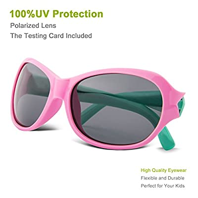 RIVBOS® RBK006 Rubber Flexible Kids Polarized Sunglasses Wayfarer Style for Baby and Children Age 3-10