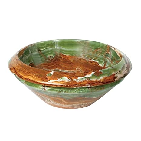 Decolav 1650-O-GBR 16-Inch Round Decorative Trim Tapered Stone Vessel, Green Brown Onyx