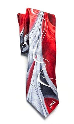 Jerry Garcia Mens Designer Pure Silk Tie Watercolor Scarlet Red Silver (Jerry Garcia Christmas Ties compare prices)