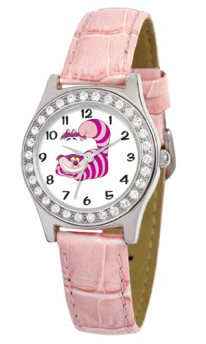 Disney Women's D1499S016 Queen Collection Cheshire Cat Pink Leather Strap Watch