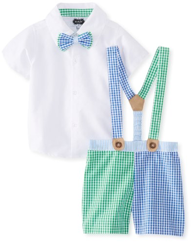 Mud Pie Baby-Boys Infant 3 Piece Gingham Short Button Down And Bow Tie Set, Green/Blue, 12-18 Months front-519602