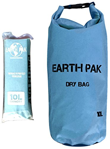 Earth Pak Waterproof Dry Bag (10L) With Shoulder Strap ★ Roll Top Dry Compression Sack Keeps Gear Dry for Kayaking, Beach, Rafting, Boating, Hiking, Camping, Snowboarding