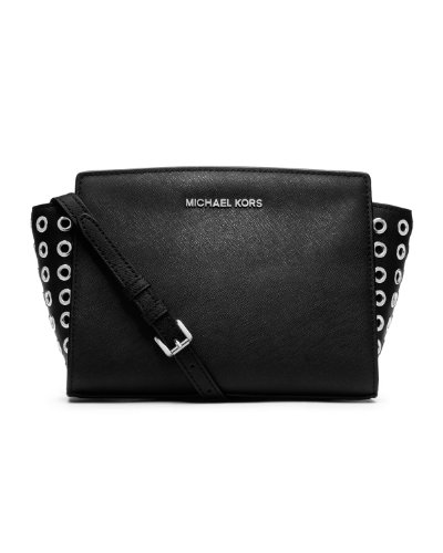 Michael Kors Selma Grommet Medium Messenger Bag In Black