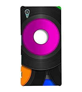 TRICOLOURED VINTAGE MUSIC RECORDS PATTERN 3D Hard Polycarbonate Designer Back Case Cover for Sony Xperia Z5 :: Sony Xperia Z5 Dual (5.2 Inches)