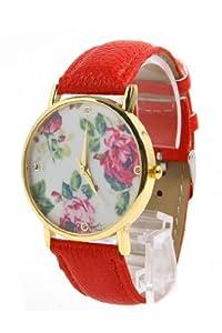 Jonsen Talk Geneva Leather Rose Flower Watch (Red)
