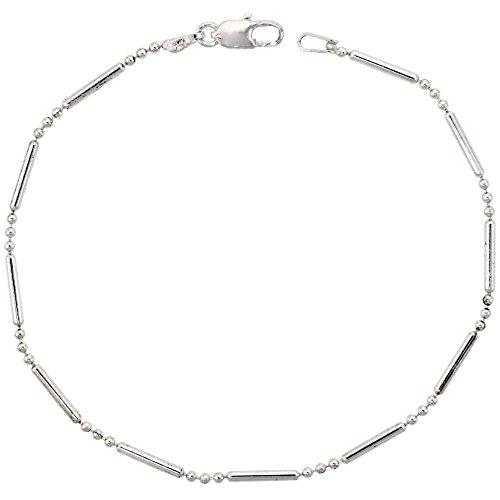 Unisex catena collane di perle e bracciali in argento Sterling 925, 1,5 mm, dimensioni da 18 fino a 76 cm, Argento, cod. SIL-TOL31-8