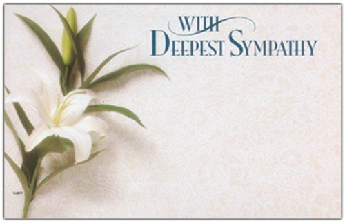 John Henry, Enclosure Card, Capri Cards, with Deepest Sympathy, White Back Ground with White Lily Flower, 50 Count Package