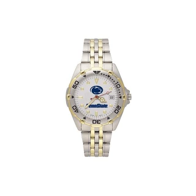 """Penn State Nittany Lions """"Penn State with Lion Head"""" Elite Watch with Stainless Steel Band   Men's Clothing"""