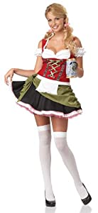 California Costumes Women's Eye Candy - Bavarian Bar Maid Adult, Red/Olive, X-Small