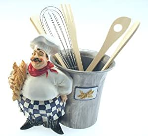 Fat french italian chef utensil holder for Home decorations amazon