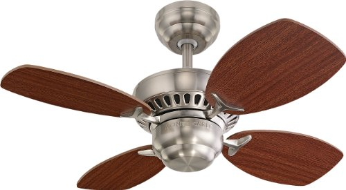 Monte Carlo 4Co28Bs Colony Ii 28-Inch 4-Blade Ceiling Fan With Mahogany Blades, Brushed Steel