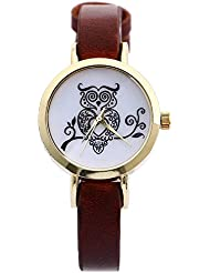Zillion Small Owl Print Dial Brown Strap Analog Watch For Women, Girls