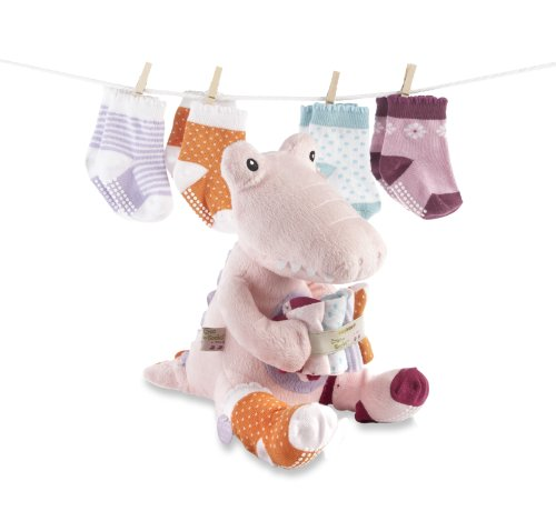 Baby Aspen Baby Aspen Croc In Socks Plush Toy And Baby Socks Gift Set, Pink