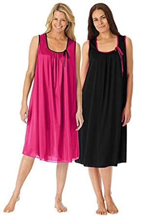 Only Necessities Women's Plus Size 2-pack sleeveless tricot night gown (BLACK