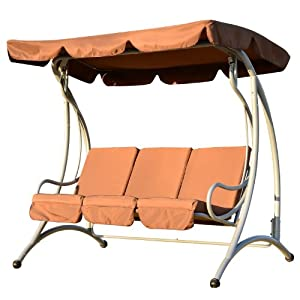 Metal Swing Chair 3 Seater Swinging Hammock Outdoor Cushioned Bench ...