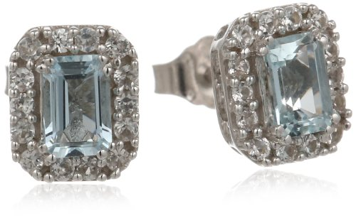 Sterling silver octagon aquamarine created white sapphire for Sapphire studios jewelry reviews