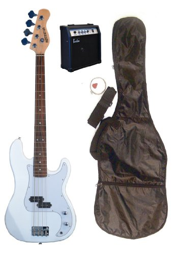 "Full Size 43"" Precision P White Electric Bass Guitar With 10 Watt Amplifier Pack & Directlycheap(Tm) Translucent Blue Medium Guitar Pick"