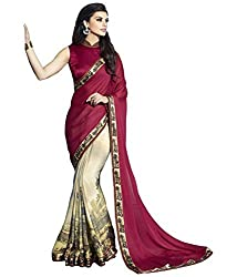 Monash Creations Appealing Maroon and Beige Faux Georgette Jacquard and Faux Georgette Saree