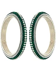 Anuradha Art Green Colour Styled With White & Green Colour Sparkles Ethnic Bangles Set For Women/Girls