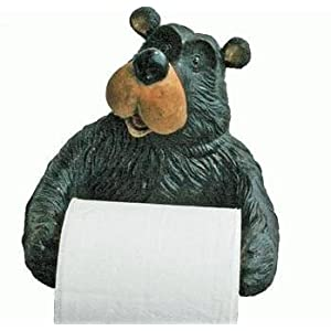 Willie Black Bear Holding Roll Of Toilet Tissue Wall Mounted Toilet Paper Holder Rack 7.5