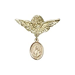14kt Gold Filled Baby Badge with O/L of Consolation Charm and Angel w/Wings Badge Pin